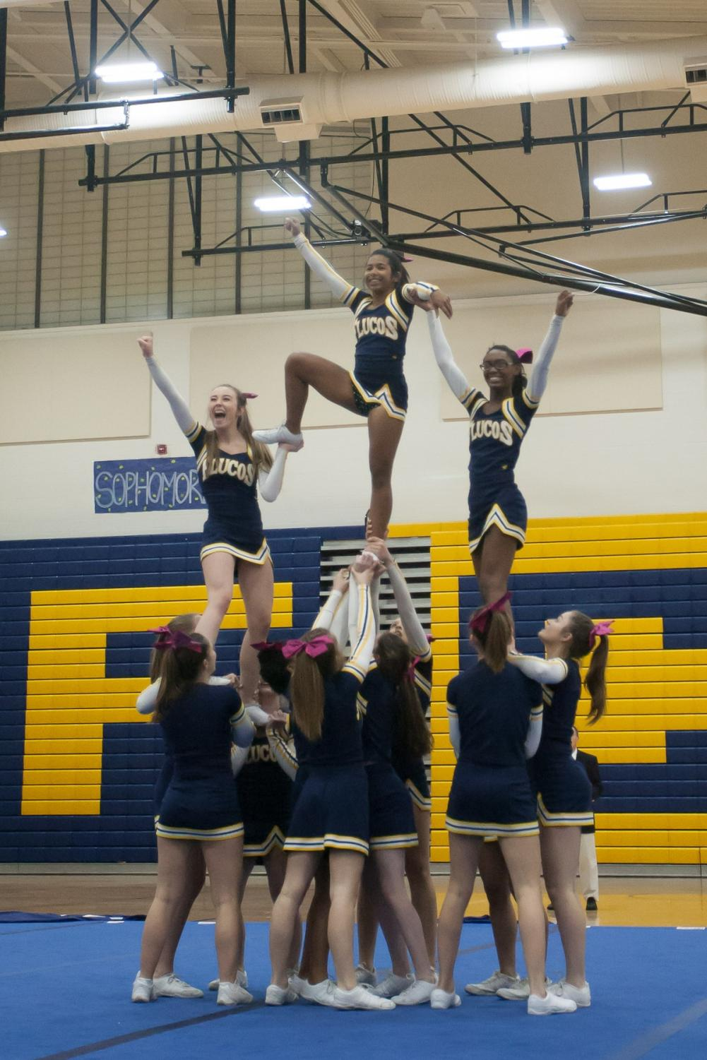 Cheerleaders during their performance at the 3A Regional Cheer Competition on Oct. 26. Photo courtesy of Fluvannaphotos.com