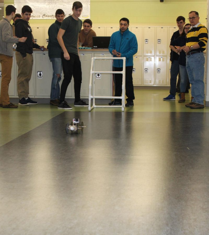 Challenge+winners+Juniors+Andrew+Farruggio+and+Cory+Martin+launching+their+device.+Photo+courtesy+of+Syerra+Milliman