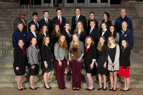 The Fluco Speech team with Mr. Barlow after winning States 2018. Front row (L-R) Mia Gonzalez, Caroline Fields, Delaney Hammond, Jordyn Palmer, Hailey Donald, Sydney Forren, Hollyn Pleasants, Ally Hanson, Trinity Haynes.  Second row (L-R) Sam Hagan, Emily Sprouse, Sydney Small, Kate Moncure, Lily Dobrin, Madison Stafford, Corban Van Ornum, Lauren Shelton, Kyera Watkins, Craig Edgerton. Third row (L-R) James Barlow, Paul Nazari, Cameron Taylor, Alex Pellicane, Alex Logan, Simon Skinner, Ziara Pagan, Scott Morris. Photo courtesy of Fluvanna Photos.