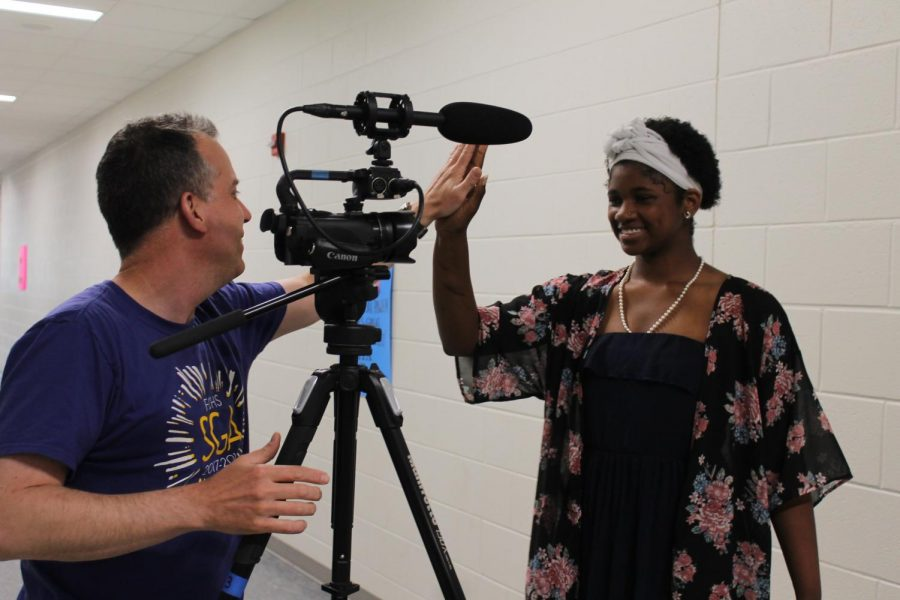Mr.+Small+filming+Sophomore+Secretary+Khyariah+Davis+election+speech.+Photo+courtesy+of+Emily+Thomas.+