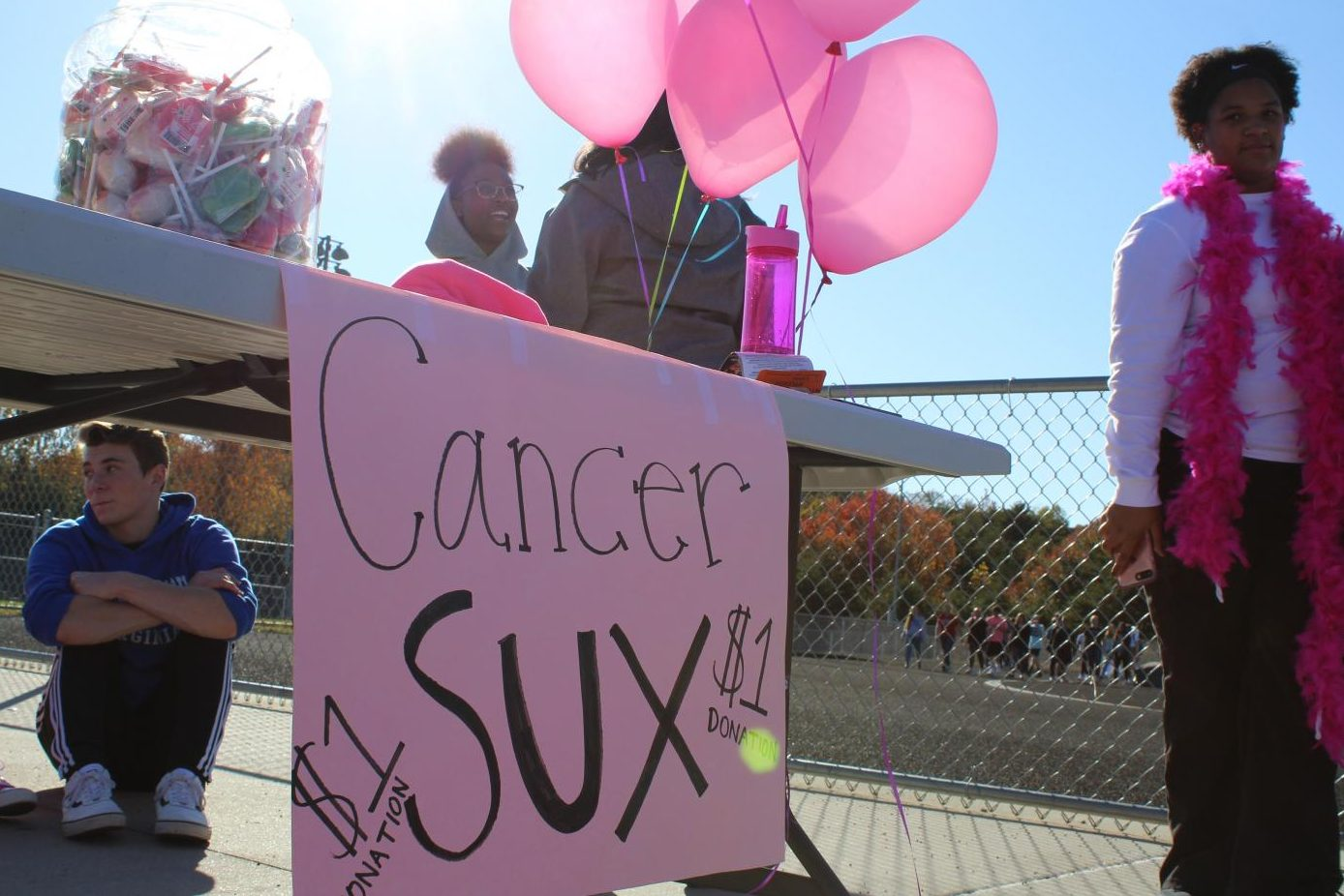 A table at the FBLA sponsored Breast Cancer Walk last spring. Photo courtesy of FCHS Journalism.