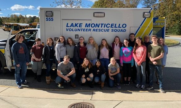 The Lake Monticello rescue squad came to visit the EMT students on Oct. 29. Photo courtesy of Stephanie Corbin.