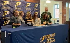 Christina Walker after signing her letter of intent to play volleyball at George Mason University. Photo courtesy of FCHS Journalism.