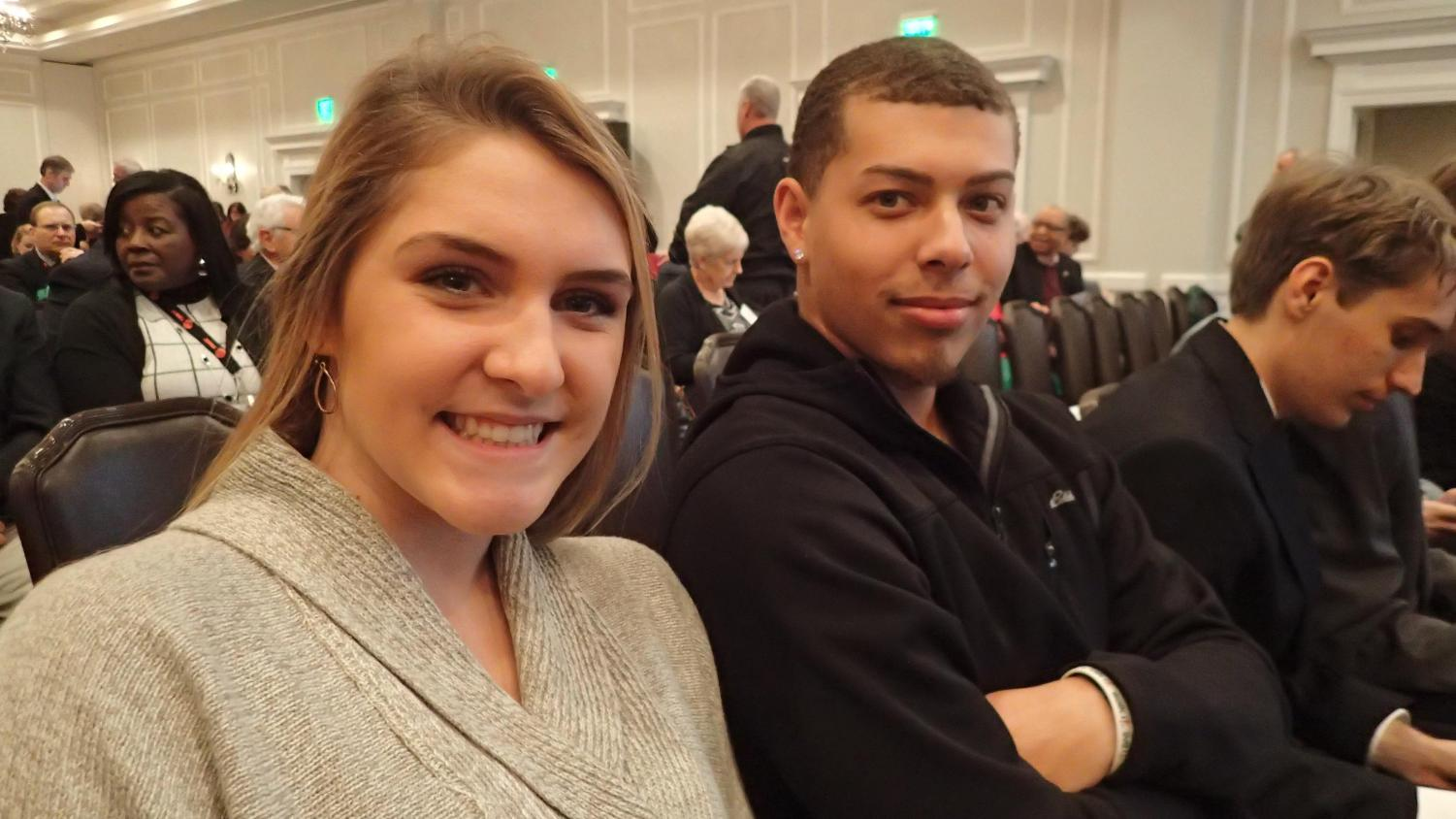 Seniors Katie Morris (left) and Kevin Burruss (right) at the Student Video Contest award ceremony on November 14, 2018 at the VSBA Annual Convention.  Photo Courtesy of David Small.