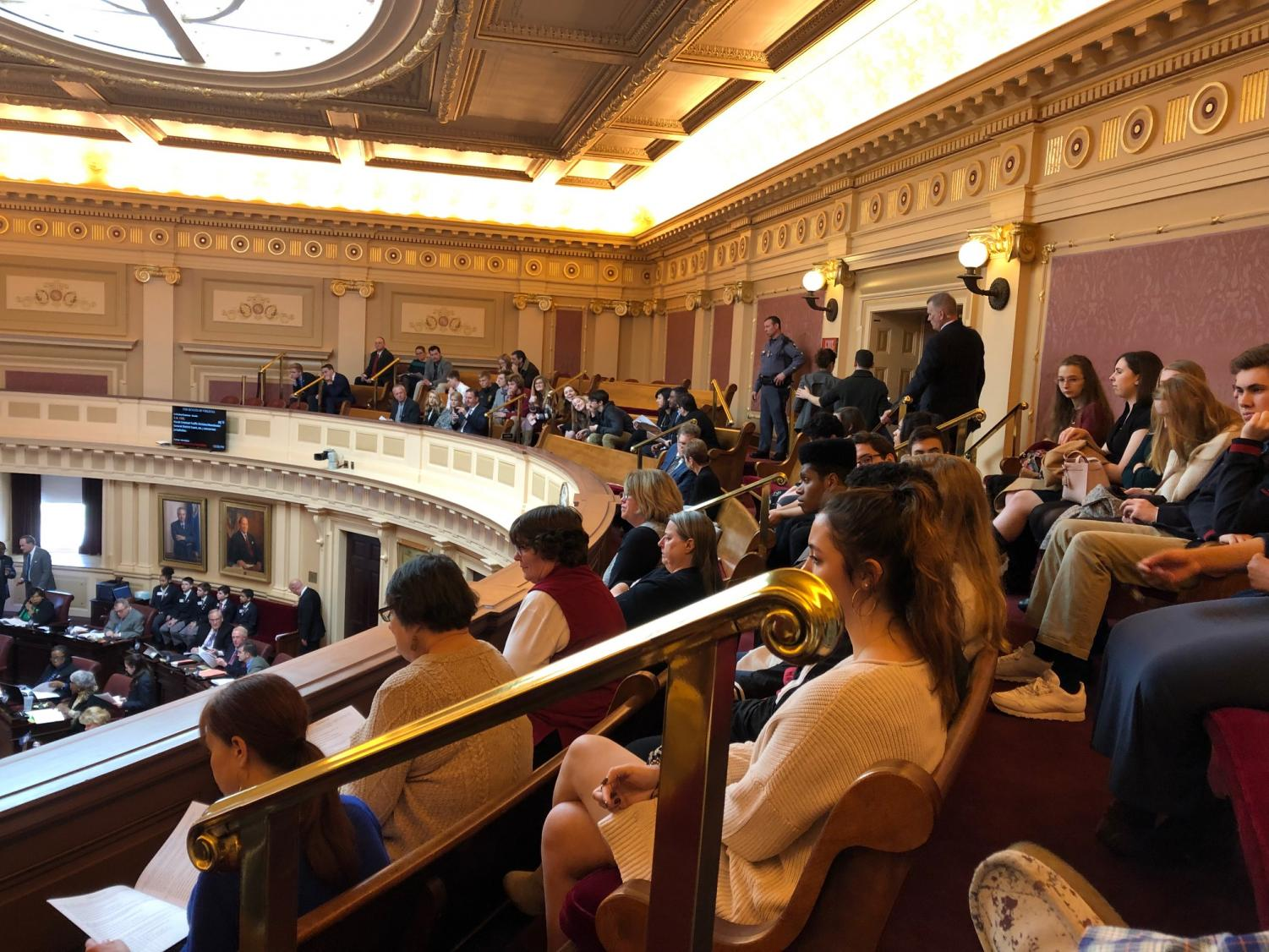 Mr. Pace's AP Government class watching a session of the VA Senate on their field trip to the State Capitol on Feb. 18. Photo courtesy of Mitchell Pace.