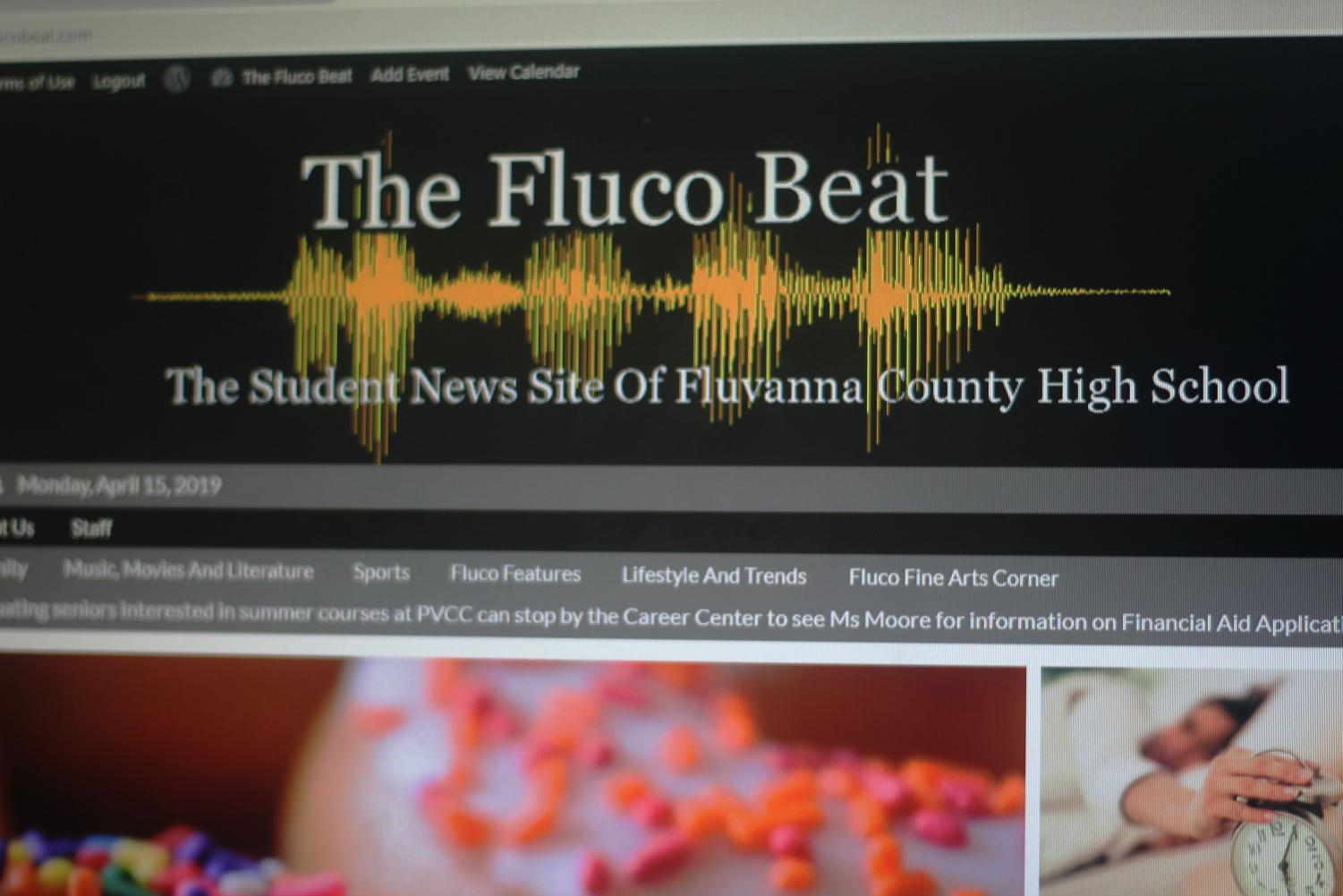 The homepage of the Fluco Beat. Photo courtesy of FCHS Journalism.