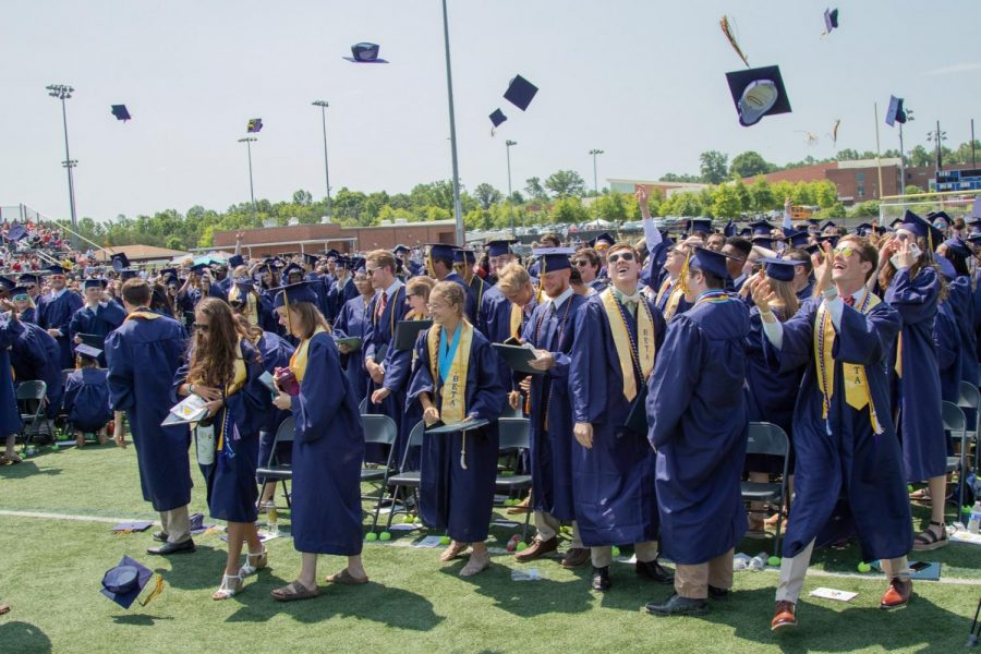 A graduation scene from 2018 at FCHS, in non-Covid-19 times.