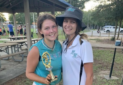 The author (left) after a her team won a  tournament this year.