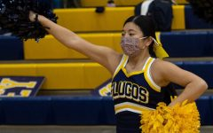 Junior Evie Benson cheers at the Dec. 29 varsity girls basketball game at FCHS.