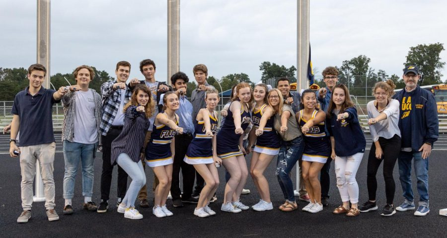 Members of the 2019 Speech team pose with Cheer team members after receiving their State Champion rings. Photo courtesy of fluvannaphotos.com.