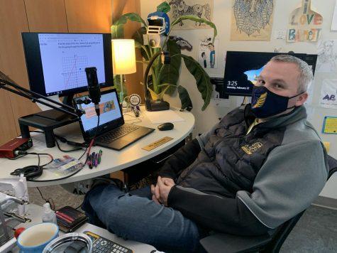 Math teacher Jason Barnett readies for another virtual learning session.