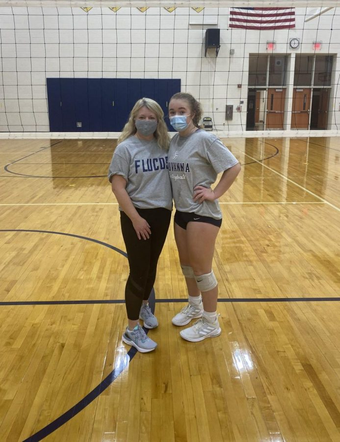 Coach Susan Shields with daughter Faith Shields after volleyball practice.