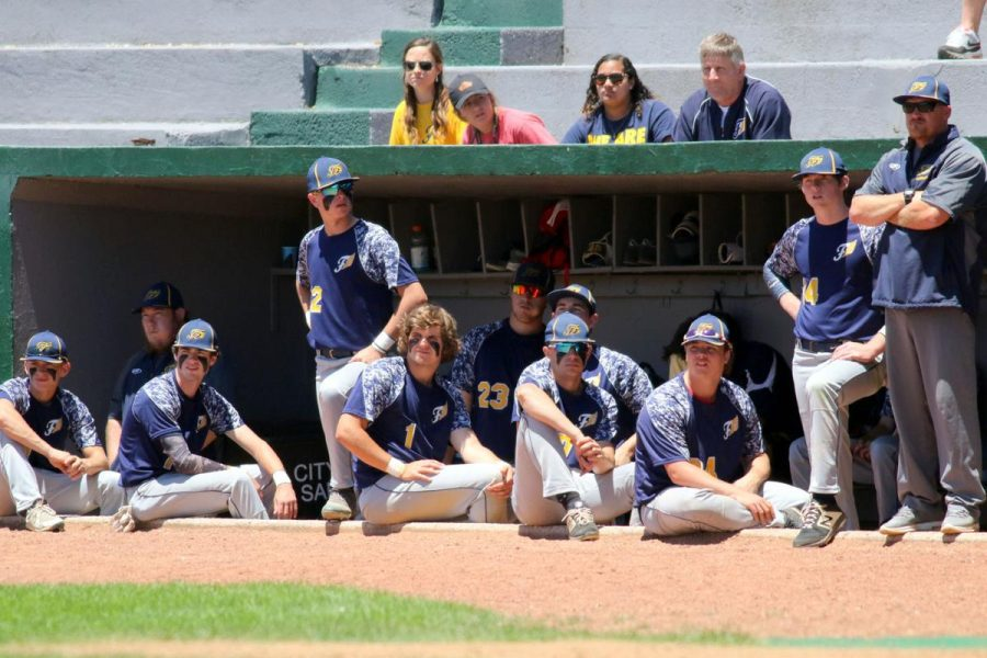 The 2019 Fluco baseball team in the dugout before winning the Virginia Class 3 State Championship.