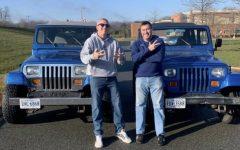 Jason Barnett and Jason Davis with their matching jeeps.