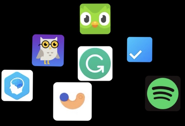 App icons Left to right: Elevate, Socratic, Flipd, Grammarly, Duolingo, Any.do, Spotify