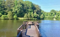 Take a walk down the pier in Arbor Lake Forest Lakes.